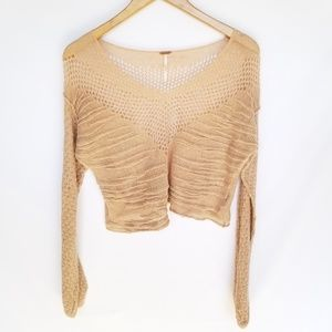 Free People Cropped Open Knit Sweater Small Blush